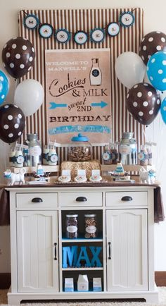 Love this blue and brown colour scheme for a boys birthday