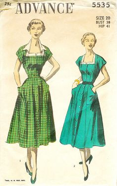 Charming button front 1950s dresses --- this kimono sleeve style could be done with raglan sleeves, or at least raglan in the front, in order to allow for more bust shaping