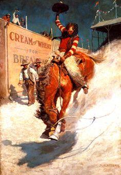 """N.C. Wyeth """"Bronco Buster"""" 1906 (Minneapolis Institute Of Art)"""