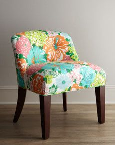 """perfect lilly printed chair to go with a vintage white vanity-- """"Canna"""" Vanity Chair"""