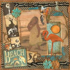Lovely Layout called Beach delight from scrapbook.com today using Tropical Travelogue! Thanks Gine for sharing! #graphic45 #layouts