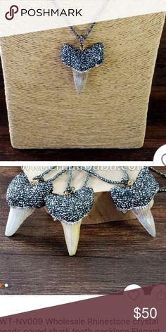 pave shark tooth necklace boho jewelry pave diamond shark tooth necklace - not for sale yet but PLEASE comment if interested!! Free People Jewelry Necklaces