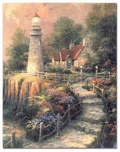Kahny Printing Memorial Folder - Thomas Kinkade Lighthouse