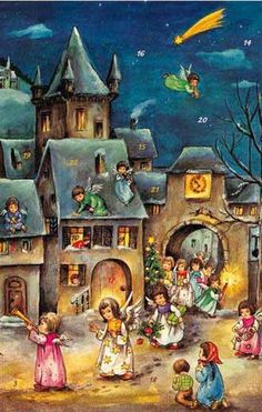 Hummel advent calendar made in Germany -  very typical german kids christmas illustration