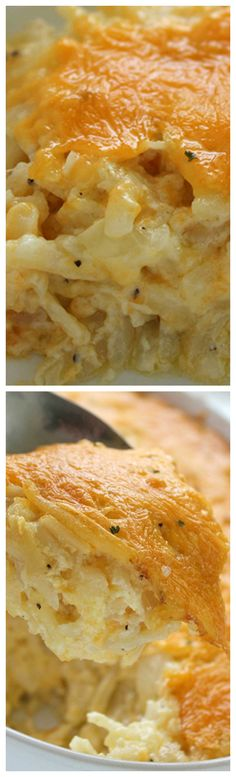 Homemade CopyCat Cracker Barrel Hashbrown Casserole ~ So cheesy and so easy to make... Great for breakfast or even a dinner side - Plus they are perfect for potlucks or anytime you are needing to feed a crowd.