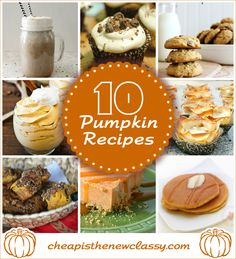Love #pumpkin?  Then check out these 10 tasty pumpkin #recipes for #fall:   http://cheapisthenewclassy.com/2014/09/pumpkin-recipes-for-fall.html