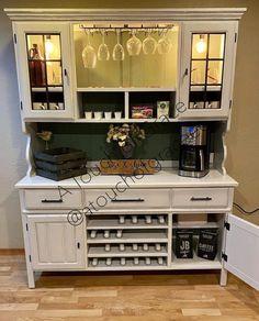 Wine And Coffee Bar, Coffee Bar Home, Coffee Bars, Coffee Corner, Coffee Shop, Inside Cabinets, Wine Cabinets, Wine Hutch, Hutch Cabinet