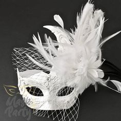 Masquerade Mask - Brocade Lace Feather w/ Net - White mask flowers Masquerade Party Outfit, Mascarade Mask, Silver Masquerade Mask, Couples Masquerade Masks, Masquerade Costumes, Maskerade Outfit, Butterfly Mask, Feather Mask, Horse Costumes