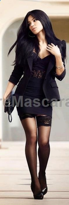 Black- Strong. The model is wearing all black and is walking is a strong pose, making her look powerful. #pantyhose #sexy #ladies #women #ladyproducts #lush #smooth #fashion #stunning #legs #glamour