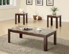 Coaster Furniture - 3 Piece Occasional Table Set w/ Faux Marble Top - 700395 3 Piece Coffee Table Set, Marble Top Coffee Table, Coffee And End Tables, End Table Sets, Side Tables, Table Furniture, Living Room Furniture, Home Furniture, Furniture Stores