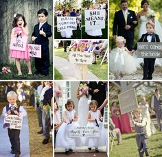Adorable flower girls and ring bearers with wedding signs!