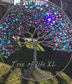 Extra large tree of life with glass beats Tree of life suncatcher 25 cm/ inch Beaded Crafts, Wire Crafts, Diy Home Crafts, Fun Crafts, Pony Bead Crafts, Tree Of Life Art, Tree Of Life Jewelry, Tree Of Life Pendant, Dream Catcher Craft