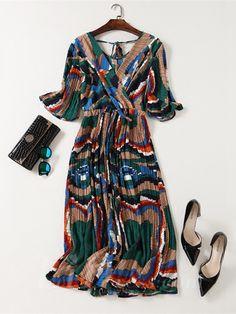Brown Women Modern Design Colorful Print Party Dress Lid1605121002