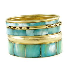 Bangle Set  jewelry in Turquoise, Gold - Material: Metal - 6 pieces  - $6.5 -- Features: Metal and Shell Bangle Stack Set #jewels #jewelry #bangles #bangleset #fashion #jewelery #jewelryforsale #lovejewelry #accessories #armcandy