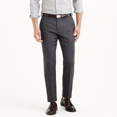 $225, Charcoal Wool Dress Pants: J.Crew Crosby Suit Pant In Herringbone Windowpane English Wool. Sold by J.Crew. Click for more info: https://lookastic.com/men/shop_items/82546/redirect