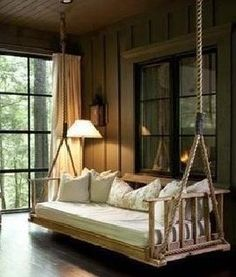 porch swing inside- make it removable so the space can be utilized without seati. - porch swing inside- make it removable so the space can be utilized without seating - Screened In Porch Diy, Cozy Patio, Front Porch Swings, Porch Bar, Screened Gazebo, Pergola Swing, Hanging Beds, Hanging Porch Bed, Outdoor Hanging Bed