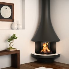 JC Bordelet Eva 992 Corner Wood Burning Open Fire | Fireplace Products