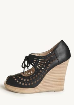 Mindy Lace Up Wedges In Black By Restricted | Modern Vintage New Arrivals