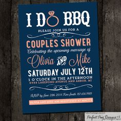 Couples Shower, I do BBQ Barbecue, Business, Picnic Summer, Fourth Of July 4th, Wedding Bridal Coral Pink Navy Blue (DIY Digital Printable) on Etsy, $15.75