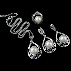 40af3490834d9 Sellsets Silver Color Vintage Jewellery Fashion Hollow Out Water Drop With  Imitation Pearl Jewelry Sets For Women Wedding Party-in Jewelry Sets from  Jewelry ...