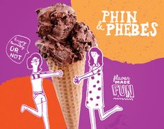 Farm Design helped push this down to earth brand to new heights. By developing a strong brand voice, website design, and an expansion of illustration work, Phin & Phebes is now able to share their story and premium product with all ice cream lovers. Restaurant Marketing, Restaurant Branding, Social Advertising, Creative Advertising, Food Poster Design, Food Design, Ad Layout, Layout Design, Interactive Web Design