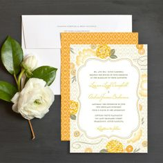 Yellow summer bohemian wedding invitation