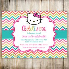 Hello Kitty Chevron Birthday, 1st Birthday Invitation, 2nd Birthday Invitation, 3rd Birthday Invitation, 4th, 5th, 6th, 7th, PRINTABLE on Etsy, $12.00