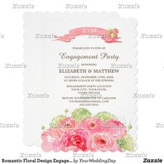Romantic Floral Design Engagement Party Invitation Romantic Pink Rose Watercolor Painting Design Personalized Engagement Party Invitations. Customize the names, date, text and all details of your Invitations. Matching Wedding Party Invitations, Bridal Shower Invitations, Save the Date Cards, Wedding Postage Stamps, Bridesmaid to be Request Cards, Thank You Cards and other Wedding Stationery and Wedding Favors and Gifts available in the Floral Design Category of our Store.