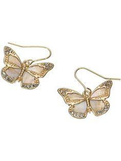 Mop Butterfly Short Drop Earrings (Accessorize) £6.00
