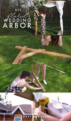 wedding DIY WOOD WEDDING ARBOR — The Sorry Girls If you're wondering if my wedding will be all DIY, YES it will be! We built a wooden and floral arch / arbor and it was surprisingly very easy and affordable to do! Diy Wedding Arbor, Diy Wedding Decorations, Diy Wedding Arch Flowers, Wedding Ceremony, Ceremony Arch, Diy Wedding Arch Ideas, Diy Wedding Trellis, Diy Wedding Crafts, Wedding Venues