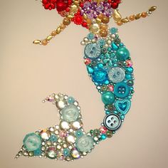 Handmade the little mermaid / Disney / Ariel frame. Swarovski crystal / button frame. Easy order, see board description.