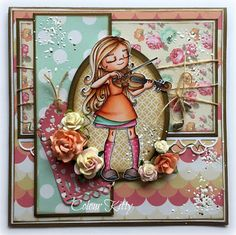 Violin Girl a Time for Tea Design from Whimsy Stamps, Double Scallop border and tag die