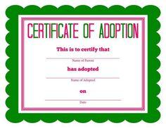 Free Printable Stuffed Animal Adoption Certificate within Toy Adoption Certificate Template – Amazing Certificate Template Ideas Birth Certificate Template, Adoption Certificate, Printable Certificates, Certificate Design, Free Pet Adoption, Adoption Party, Animal Adoption, Adoption Papers, Manualidades