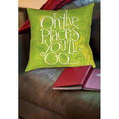 "Walmart:  Thumbprintz Oh the Places  Indoor Pillow, 14"" x 14"""