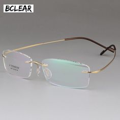 81de4b9f17 Buy BCLEAR High Quality Pure Titanium Unisex Rimless Optical Frame Memory  Thress-piece Rimless Glasses for Men and Women Comfortable