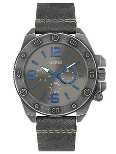 Gunmetal-Tone Leather Watch at Guess Gents Watches, Rolex Watches, Watches For Men, Grey Leather, Stainless Steel Case, Bracelet Making, Quartz Watch, Jewelry Watches, Jewelry Accessories