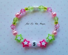 Birthday Star Bracelet in Pink and Green by Justtoocutedesigns