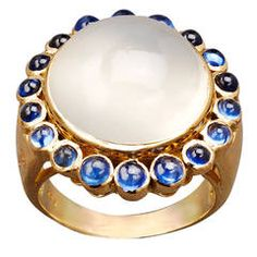 Large Moonstone Sapphire Gold Cluster Ring