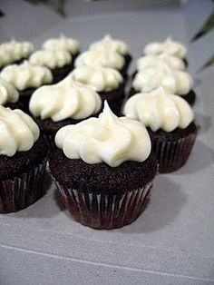 Mini Chocolate Cupcakes with Cream Cheese Frosting