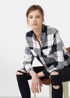 Camisa algodón cuadros - Camisas de Mujer | MANGO España