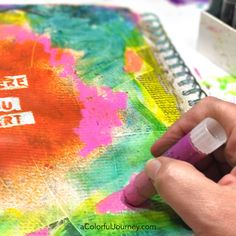 Sealing gelatos in an art journal video by Carolyn Dube plus you'll see the message the muse sent me during this play that started with a yucky brown layer!