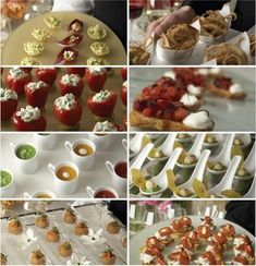 It seems small plates have hit the reception scene running! I've been see. It seems small plates have hit the reception scene running! I've been seeing this essence of Finger Food Catering, Finger Food Appetizers, Finger Foods, Appetizer Recipes, Yummy Appetizers, Wedding Reception Food, Wedding Catering, Reception Ideas, Fall Wedding