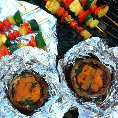 Holistic & Happy: BBQ Cheese Shroom Burgers with spinach, the *perfect* vegetarian barbecue