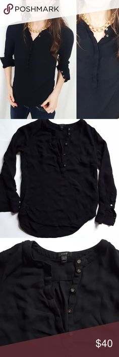 J. Crew Black 100% viscose Henley top -B6 J. Crew top, size 2. Black color, made of 100% viscose. Loose fit.  Used item, pictures show signs of wear and use. Bundle up! Offers always welcome!:)  Shop my husband's closet!: @kirchingeraaron J. Crew Tops