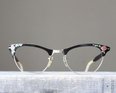vintage glasses 1950's floral painted glasses by Thrush on Etsy, $120.00