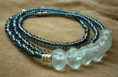 Recycled Glass Seed Bead Necklace  Chunky Ice Glass by EclecticHue, $28.00