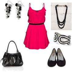 Pink & Black, created by jklmnodavis on Polyvore