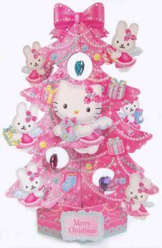 Hello Kitty Angel Christmas Tree Pop Up Greeting Card/Christmas Card Hello Kitty Christmas Tree, Cat Christmas Cards, Cute Christmas Gifts, Christmas Angels, Christmas Greetings, Pink Christmas, Xmas Tree, Christmas Trees, Christmas Decorations