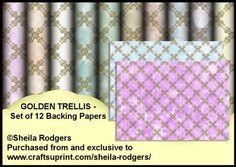 Golden Trellis Set of 12 Backing Papers on Craftsuprint designed by Sheila Rodgers - A set of 12 A4 backing papers with a shaded background and an overlay of golden trellis. There are colours suitable for both men and women. - Now available for download!
