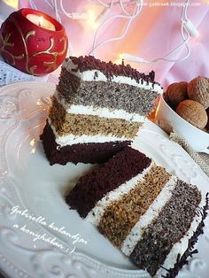 Gabriella kalandjai a konyhában :): Csíkos szelet Hungarian Desserts, Hungarian Recipes, Xmas Desserts, Desserts To Make, Sweet Cookies, Cake Cookies, Poppy Seed Cookies, Poppy Cake, Cookie Recipes